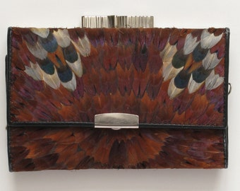 Pretty Feathered Change Purse,vintage 60s