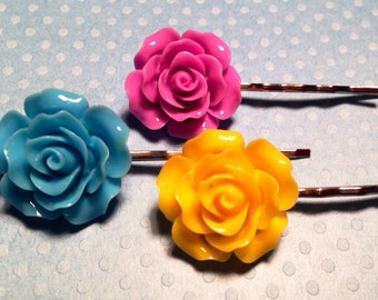 Blue Sky Rose Bobby Pins - 3 Pc Set
