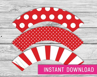 Printable Cupcake Wrapper - Red (instant download, cupcake wrappers, cupcake liner, baby shower, baby boy, first birthday, wedding)