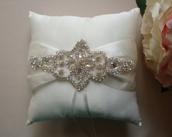 Ring Bearer Pillow - Rhinestone Ring Bearer Pillow - Wedding Pillow - Satin Ring Bearer Pillow