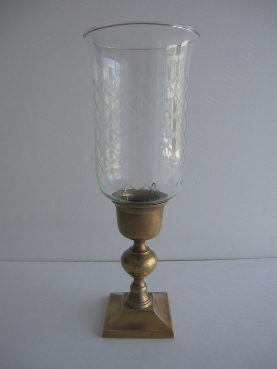 Antique Vintage Glass Brass Hurricane Lamp Square Base Candle