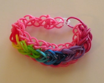 Bridge Style Rubber band Bracelet By Brittani   Pink with rainbow or Custome colors Latex Free
