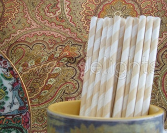 "100 Cream Stripe Paper Straws - 7 3/4"" - Eco-Friendly Biodegradable Paper Drinking Straws - Wedding Party Shower Reception Celebrations"