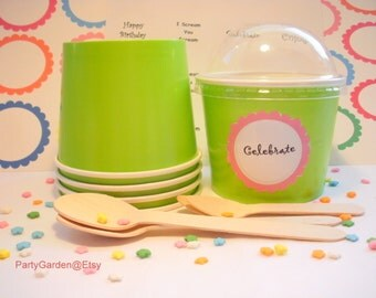 12 Lime Green Ice Cream Cups - Large 16 oz