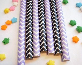 50 Light Purple and Black Chevron Paper Straws