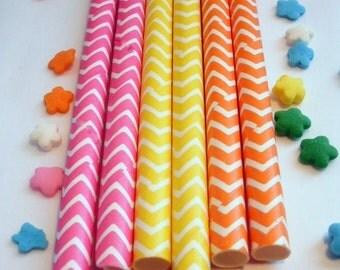 50 Pixy Stix Hot Pink Yellow Orange Chevron Paper Straws