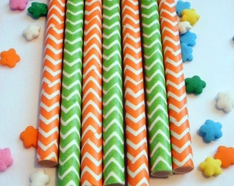 50 Peas and Carrots Orange and Lime Green Chevron Paper Straws