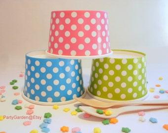 24 Mini Polka Dot Ice Cream Cups - 4 oz - Your Choice of Color