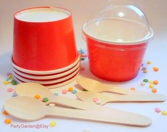 50 Bright Red Ice Cream Cups - Medium 12 oz