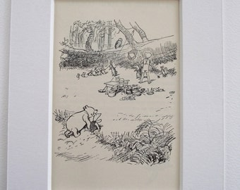 Original 1936 Edition Winnie-the-Pooh A.A.Milne Print (Book illustration) - Mounted Print