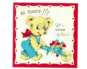 Vintage GARDENING Teddy Bear VALENTINE 1940's Anthropomorphic Bear Pushes Wheelbarrow of Flowers Hearts