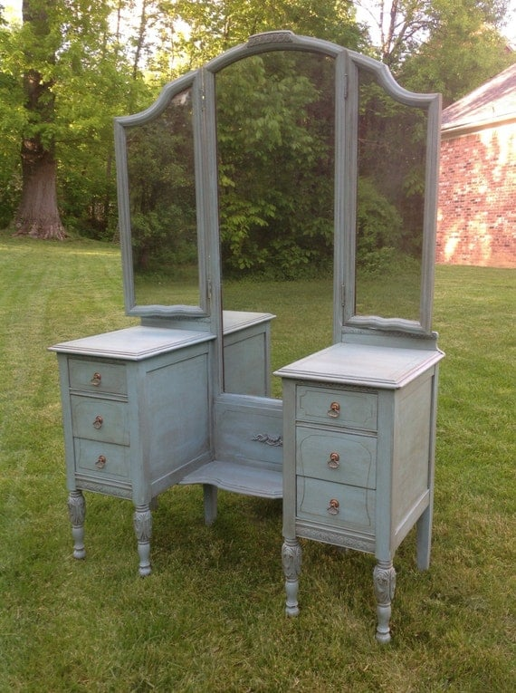Items similar to Made to Order Antique Vanity Dressing Table, tri-fold  mirror, painted and stained, lightly distressed on Etsy - Items Similar To Made To Order Antique Vanity Dressing Table, Tri