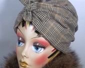 Wool, fashion turban, hat, beige, navy, full turban, winter, vintage style, designer. Size Sm, Med, L, XL. Free shipping in USA.
