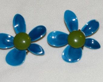 Blue & Avocado Enamel Clip On Flower Earrings