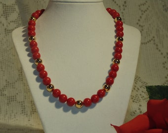 Red and Gold Vintage Beaded Necklace by Napier - Absolutely Stunning - At A Very Reasonable Price - FREE SHIPPING.