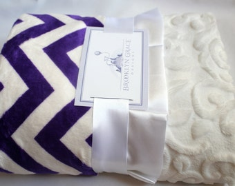 Purple and White Chevron Minky Cuddle Blanket