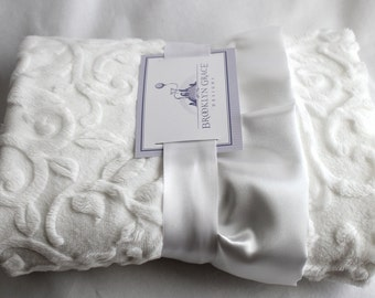 White Embossed Vine with Soft White Satin Ruffle Trim Minky Blanket  - Infants, Toddlers, Kids - Available in Gray, Slate, White and Ivory