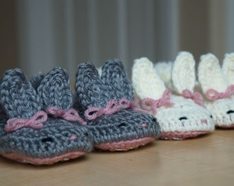 Crochet Toddler Bunny Slippers with non slip sole