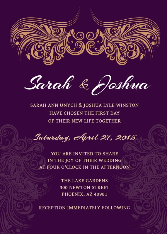 WEDDING INVITATION Deep Purple Gold Printable Wedding