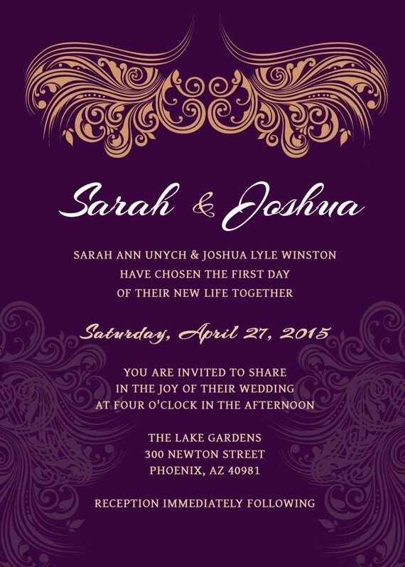 WEDDING INVITATION Deep Purple Gold Printable Wedding – Gold and Purple Wedding Invitations