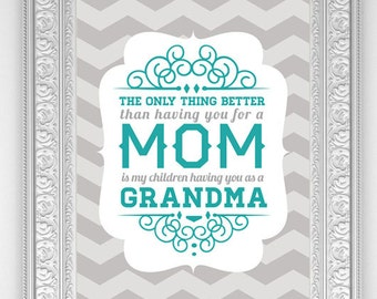 Mom Art Print: Custom Only Thing Better Mom to Grandma (two sizes available)