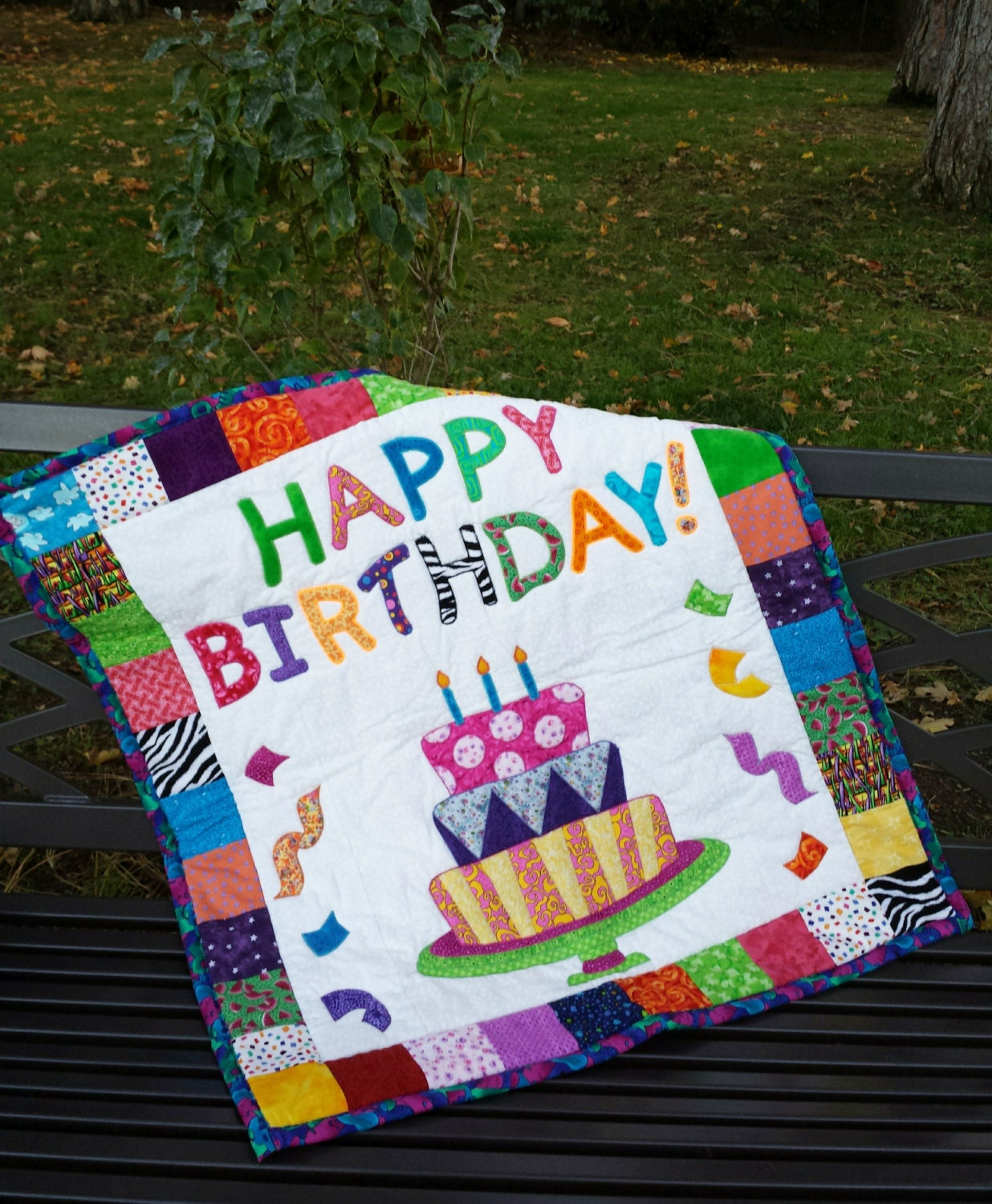Handmade Quilt Quilted Wall Hanging Happy Birthday Home