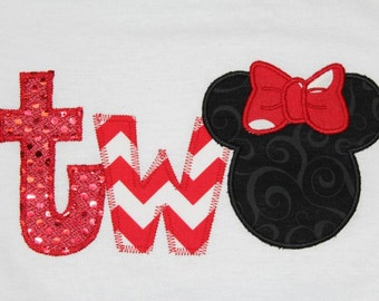 One Two Minnie Mouse Birthday Shirt