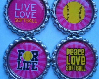 Softball Magnets Softball Lover Play Softball Set Of Four
