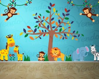 Wall Decal - Jungle Decal - Jungle Wall Decal - Safari Wall Decals - Jungle Animal Decals
