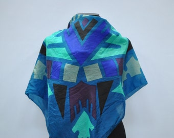 Vintage SILK scarf with geometrical pattern ....