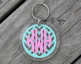 Chevron Circle Monogram Keychain Acrylic Personalized Key Chain