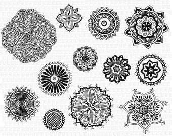 Printable Henna Tattoo Floral Motifs Mandalas 300dpi High Resolution Digital Graphics Instant Download 1575