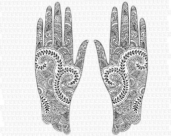Digital Collage Sheet Hindu Mehndi Design Pattern Henna Tattoo Hands Clip Art Illustrations High Quality Graphics Img1570