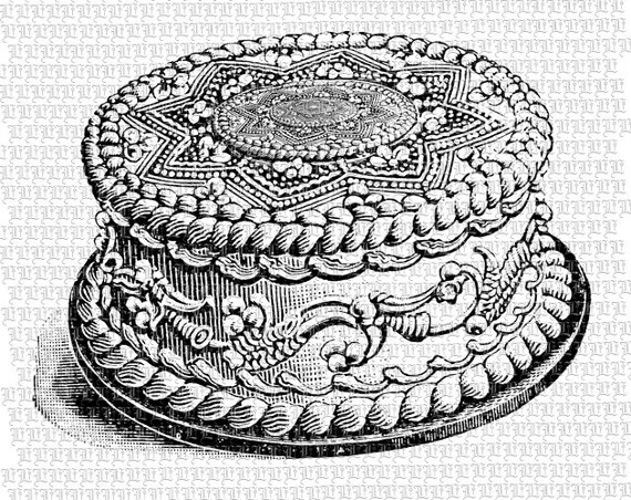 Decorated Cake Victorian Baked Goods Vintage Clip Art