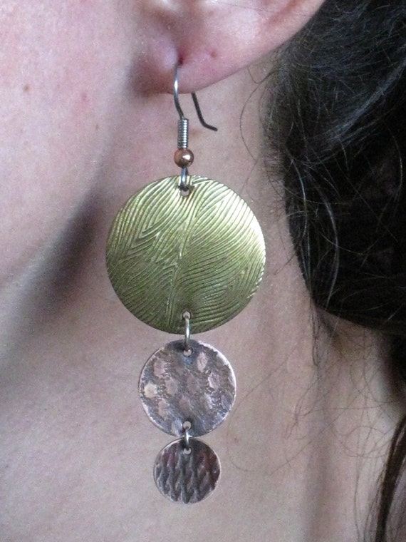 Mix metal earrings - Handmade copper and brass- One of a kind pair