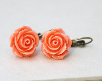 50% OFF Earrings, Coral Resin rose and brass dangle earrinngs 1