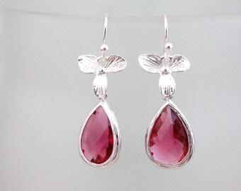 50% OFF Earrings, Elegant Silver and Fuchsia Crystal dangle earrings No. E407 1