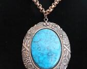 Vintage Genuine Copper Pendant Necklace with Faux Turquoise Cabochon.