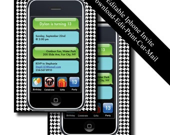 iPhone Birthday Invitation - Instant Download - Editable Text