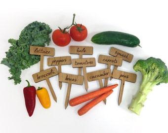 Vegetable Garden Plant Markers / Set of 10 Wood Engraved Labels