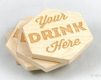 Wood Coasters - Laser Engraved (Maple Hexagon)