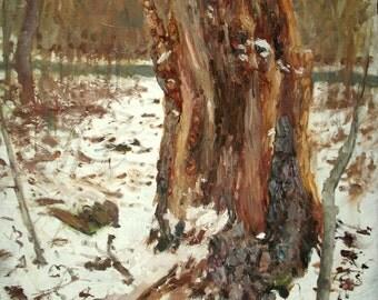 Original Landscape Oil Painting-Dead Trunk in Snow