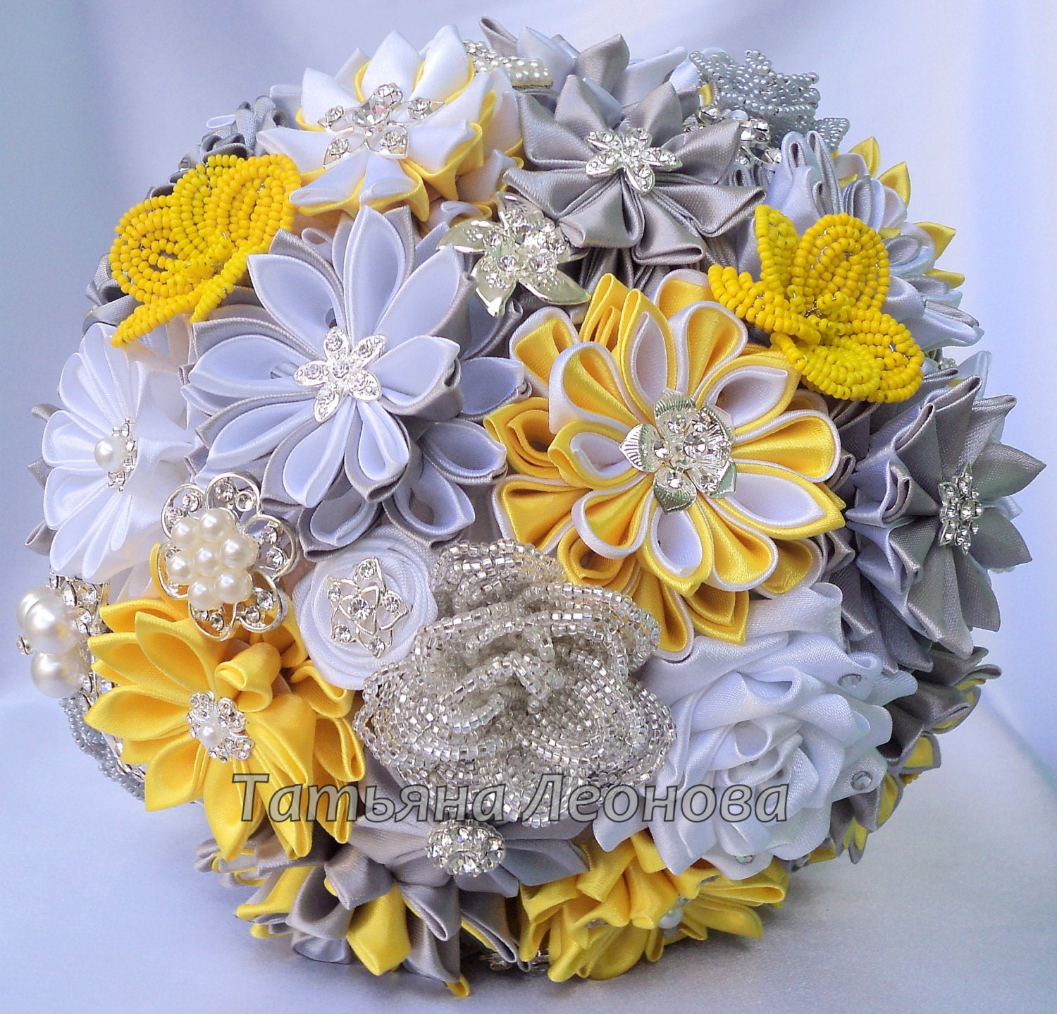 Fabric wedding bouquet brooch bouquet chic for Bouquet chic