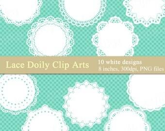 Lace Doily Clip Arts, Lace digital frames, White Lace Doilies -V015- Instant Download