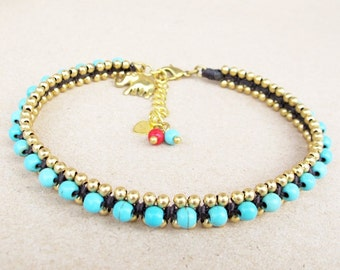 Turquoise Chain Woven Ankle Bracelet in Brass Bead added Elephant Charm