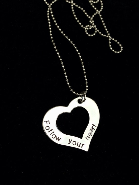 Hand Stamped Stainless Steel Heart Necklace