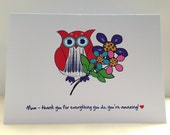 Mothers Day Card | Owl Card | Mom Card | Mum Greetings Card