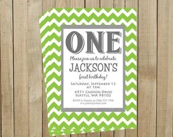 Trendy Green Chevron First Birthday Invitation, One, Custom Digital File, Printable
