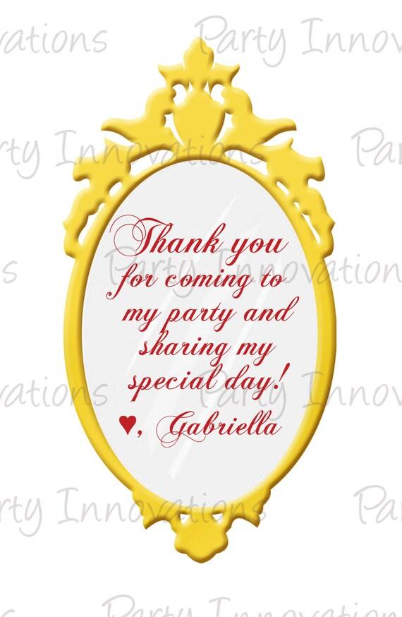 Printable Snow White Mirror Party Favor Tags