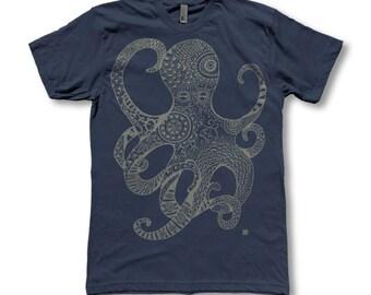 Mens Octopus print Tri - Blend American Apparel T - Shirts